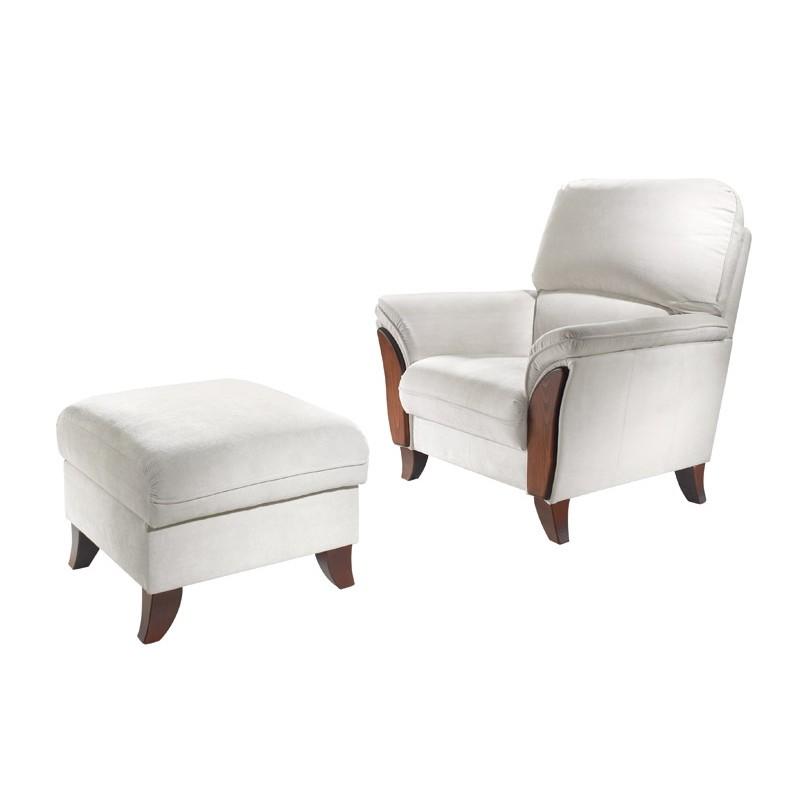 Křeslo s kombinací masivu a doplněný taburetem k sedací soupravě Baron