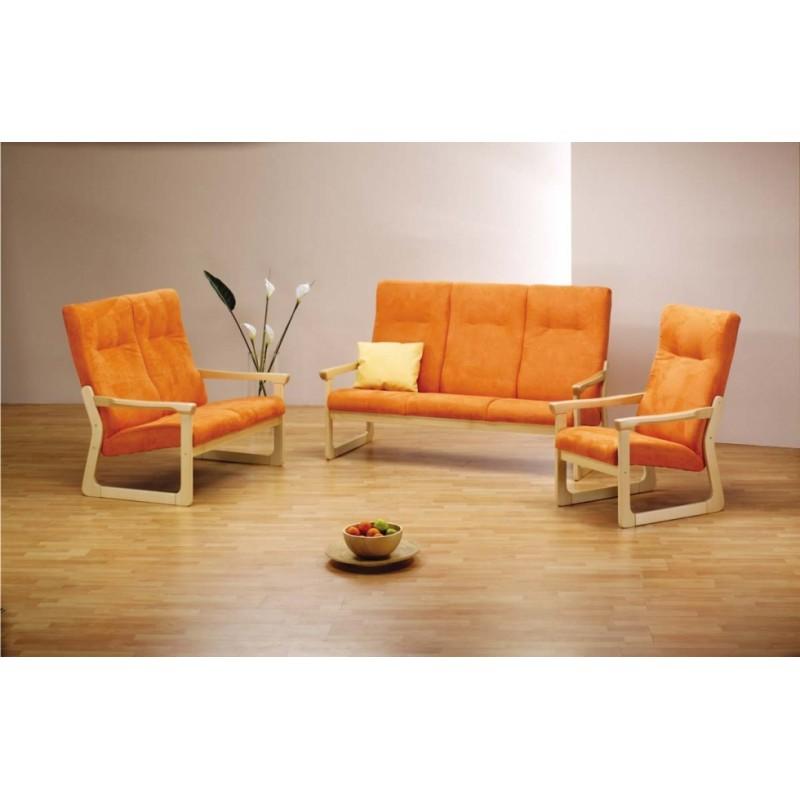 Sedací souprava Beneta trojkřeslo, dvoukřeslo a křeslo v čalouněném provedení s oranžovou barvou z masivu