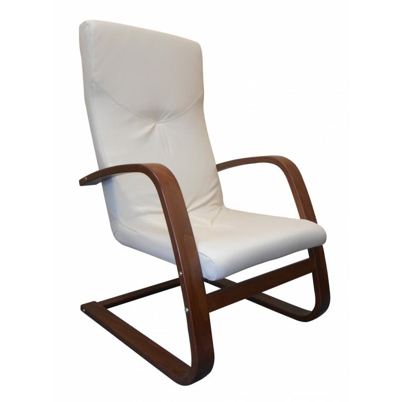 Pohupovací elegantní kožené křeslo v bílé barvě na lamelové bukové konstrukci