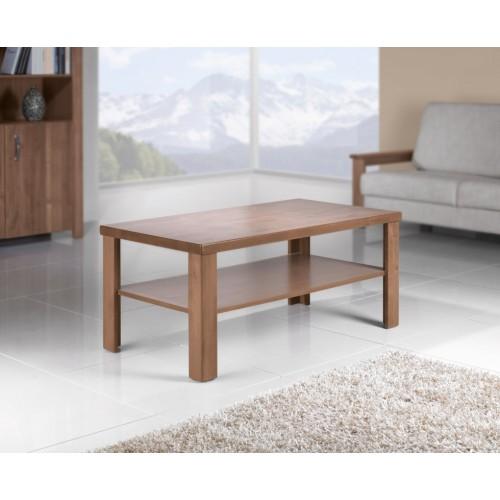 Konferenční stolek s odkládací deskou z masivu ve tvaru obdélníku