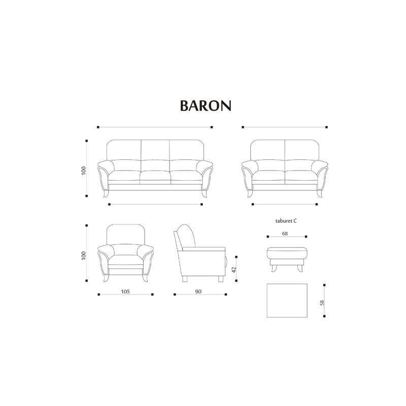 Míry a sestavy sedací soupravy Baron