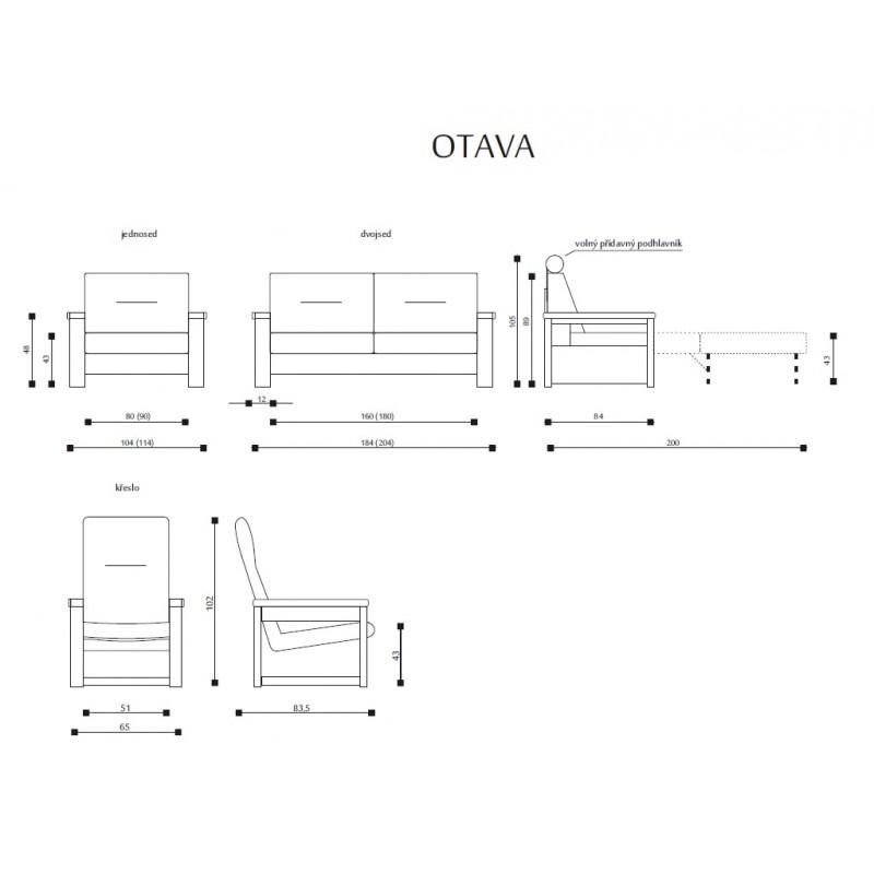 Míry a sestavy sedací soupravy Otava