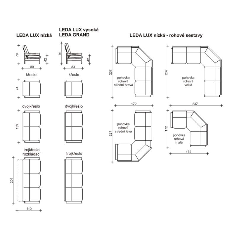 Míry a sestavy sedací soupravy Leda Lux