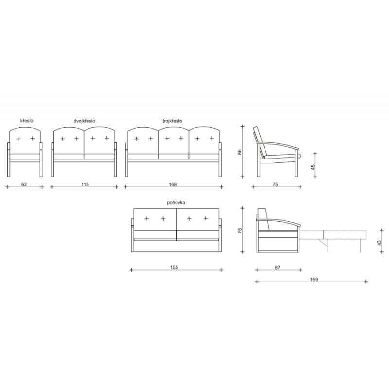 Míry a sestavy sedací soupravy Roxa