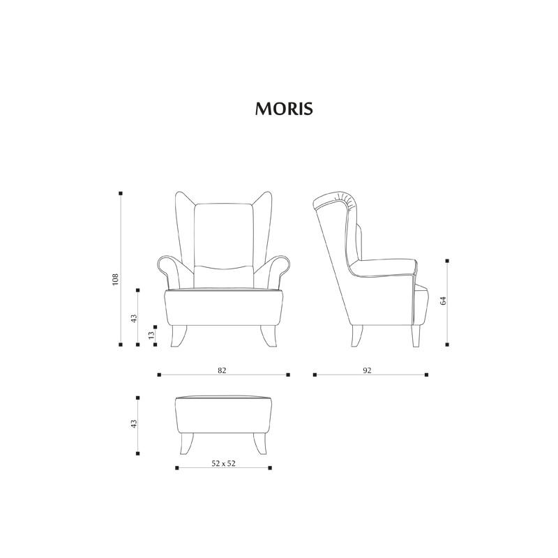 Rozměry sedací soupravy na míru Moris