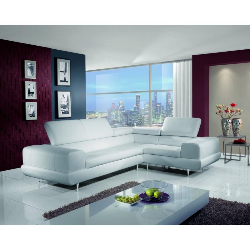Luxusní kožená sedací souprava Aspen čalouněná bílou kůží