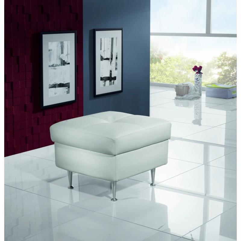 Taburetka k bílé sedací soupravě z kůže Aspen
