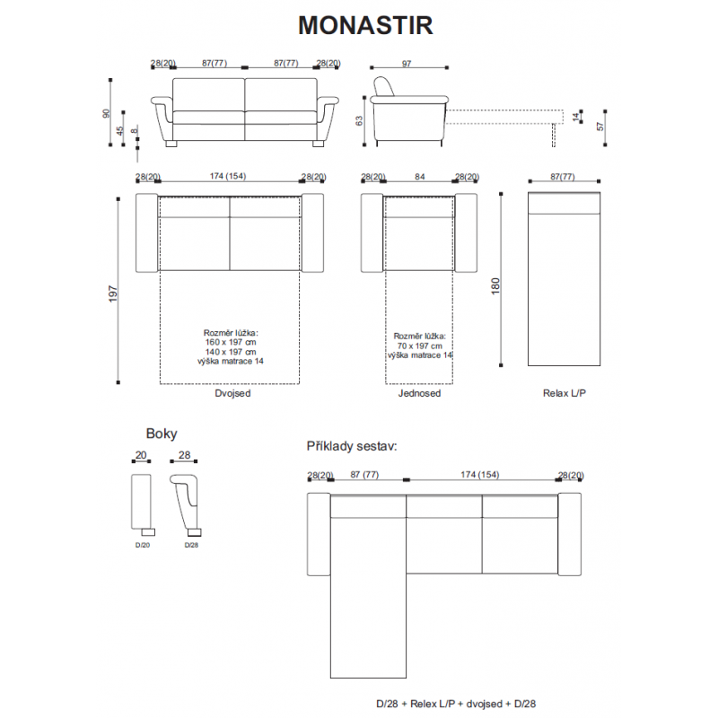 Miry a sestavy kožené sedačky Monastir