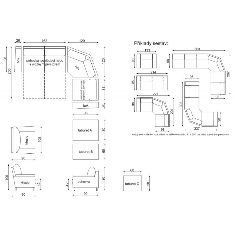 Míry a sestavy rozkládací sedačky Variant
