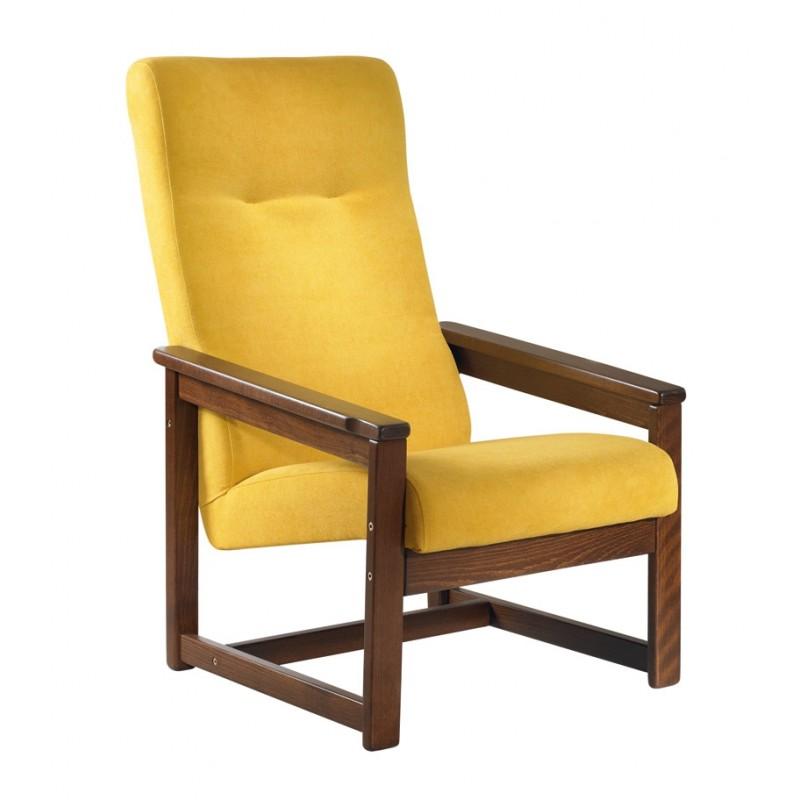 Křeslo kožené sedačky Otava s masivní konstrukcí z buku