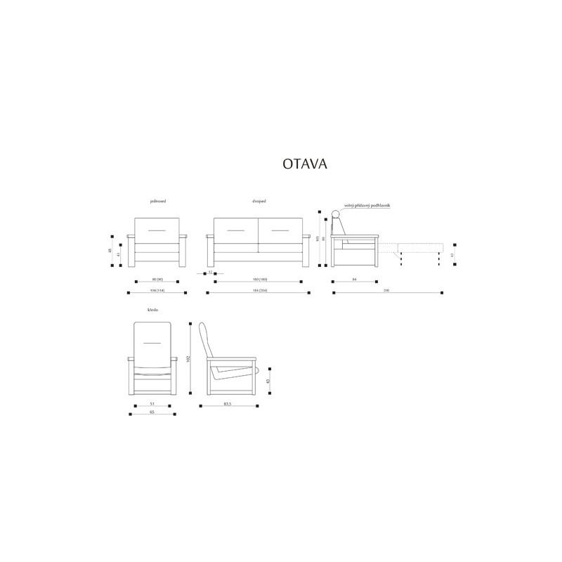 Míry a sestavy pro masivní sedačku Otava