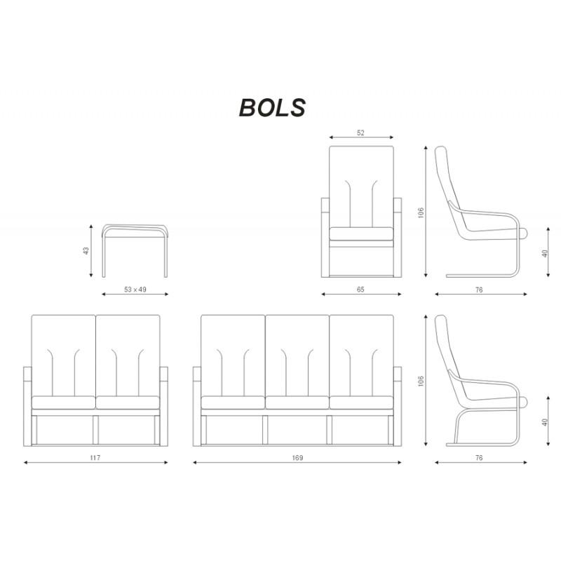 Míry a sestavy kožené sedací soupravy Bols