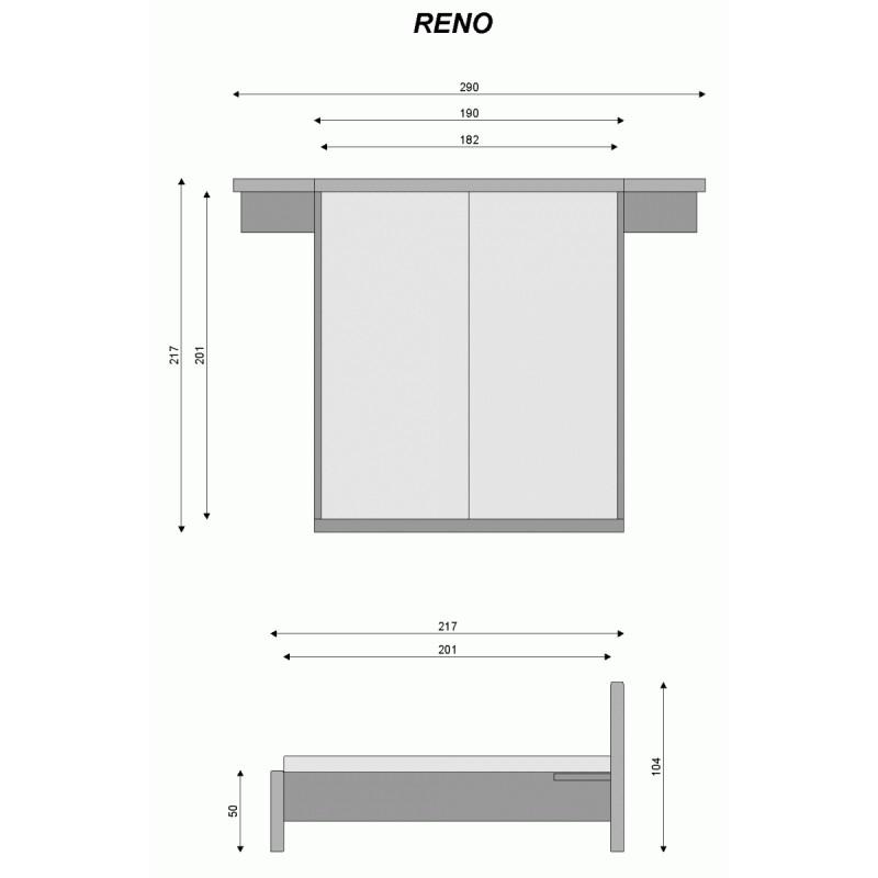 Míry postele Reno