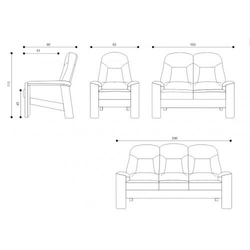 Rozměry sedací soupravy