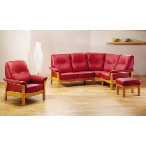 Rohová velmi pohodlná sedací souprava v červené kůži s masivním dřevem