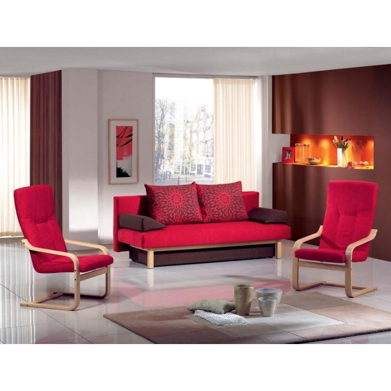 Červená pohovka s úložným prostorem Rival v čalouněném provedení v masivu