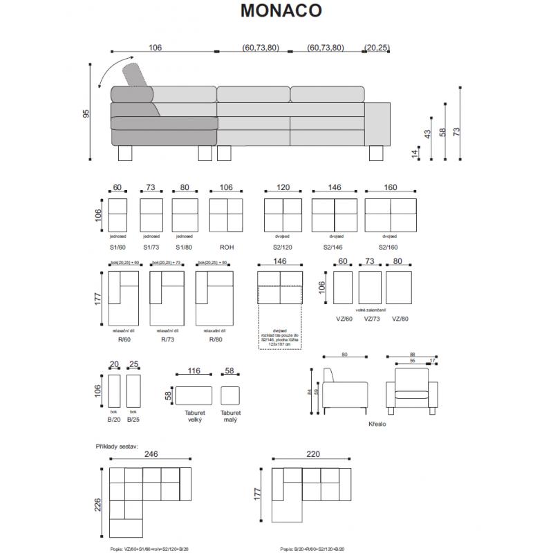 Míry a sestavy sedací soupravy Monaco