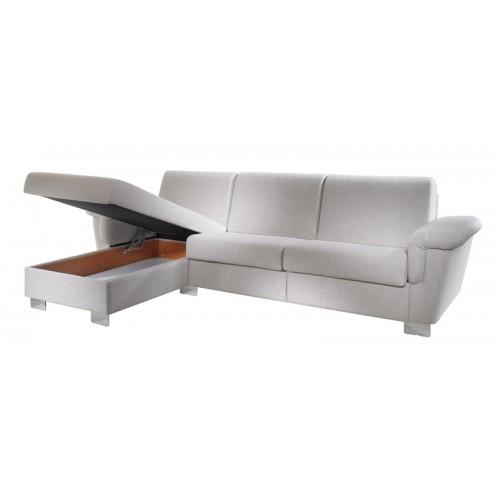 Úložný prostor relaxačního dílu kožené sedací soupravy Monastir