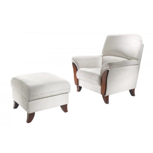 Na míru zhotovené křeslo a taburet sedačky Baron možné očalounit dle Vašeho přání